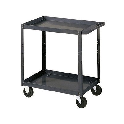 Edsal-SC1801-Extra-Heavy-Duty-Industrial-Service-Cart-with-Polypropylene-Casters-16-Gauge-Steel-1000-lbs-Capacity-36-Width-x-36-Height-x-24-Depth-2-Shelves-0