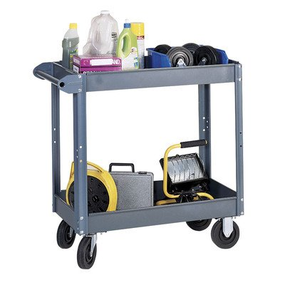 Edsal-SC5000-Heavy-Duty-Industrial-Gray-Service-Cart-with-Polypropylene-Casters-2-Shelves-made-of-18-Gauge-Steel-800-lb-Capacity-32-Height-x-16-Width-x-30-Depth-0