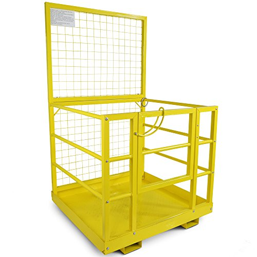 Forklift-Safety-Cage-Work-Platform-Lift-Basket-Aerial-Fence-Rails-Yellow-2-man-0