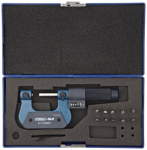 Fowler-52-219-091-Steel-EZ-Read-Digit-Thread-Micrometer-0-1-Measuring-Range-00001-Graduation-00002-Accuracy-0-0