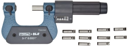 Fowler-52-219-091-Steel-EZ-Read-Digit-Thread-Micrometer-0-1-Measuring-Range-00001-Graduation-00002-Accuracy-0