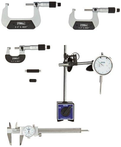 Fowler-52-229-780-Indicator-Mag-Base-Dial-Caliper-Micrometer-Combo-Set-0