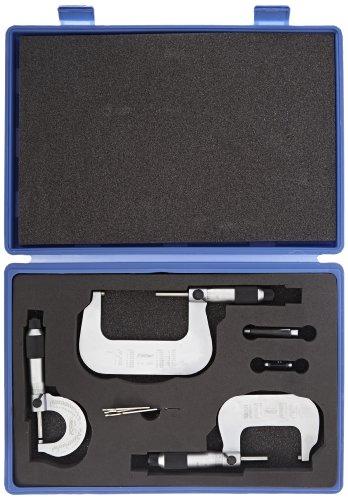 Fowler-52-235-100-Outside-Vernier-Micrometer-Set-with-Decimal-Equivalents-on-Frame-0-3-Measuring-Range-00001-Graduation-Set-of-3-0-0