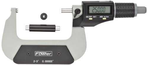 Fowler-54-870-003-Xtra-Value-II-Electronic-Micrometer-with-Grey-Enamel-Finish-2-350-75mm-Measuring-Range-0000050001mm-Resolution-0000160004mm-Accuracy-RS-232-Output-0