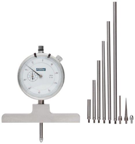 Fowler-Full-Warranty-Steel-X-Series-Depth-Gauge-with-Satin-Chrome-Finish-52-125-006-1-0-22-Measuring-Range-0001-Resolution-0