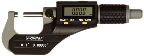 Fowler-Full-Warranty-Xtra-Value-II-Electronic-Micrometer-with-Grey-Enamel-Finish-54-870-001-0-0-10-25mm-Measuring-Range-0000050001mm-Resolution-0000160004mm-Accuracy-RS-232-Output-0
