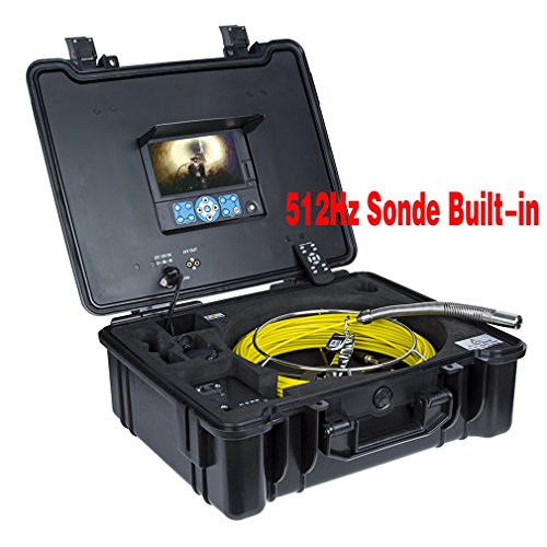 GooQee-PIC003-L-Drain-Sewer-Pipe-Inspection-Camera-with-09-inch23mm-Camera-length-in-98-inch250mm-512Hz-Sonde-Sony-CCD-Sensor-7-inch-DVR-Text-Writer-8GB-SD-Card-40m130ft-Meter-Counter-0