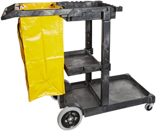 Impact-6850-Janitors-Cart-with-25-Gallon-Yellow-Vinyl-Bag-Polyethylene-48-Length-x-20-12-Width-x-38-Height-Gray-0