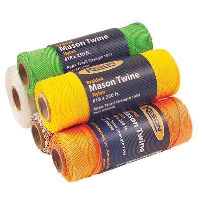 Keson-YB250-12-pack-18-Yellow-Braided-Nylon-Mason-Line-250-ft-155-lb-Tensile-Strength-0
