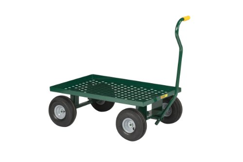 Little-Giant-LWP-2436-10-G-Steel-Perforated-Deck-Wagon-Truck-with-1-12-Lip-10-x-2-34-Solid-Rubber-Wheel-Green-1200-lbs-Load-Capacity-24-Width-x-36-Length-0