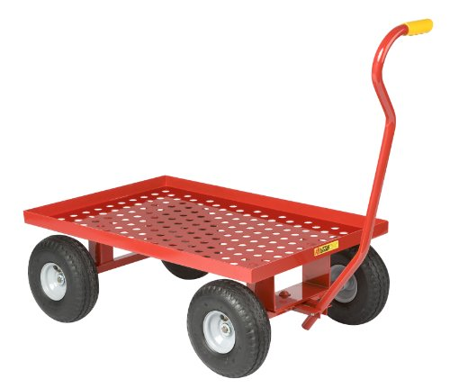 Little-Giant-LWP-2436-10P-Steel-Perforated-Deck-Wagon-Truck-with-1-12-Lip-10-x-3-12-Pneumatic-Wheel-Red-1200-lbs-Load-Capacity-24-Width-x-36-Length-0