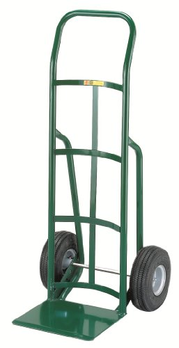 Little-Giant-T-200-14-Gauge-Tubular-Steel-12-Deep-Reinforced-Nose-Plate-Hand-Truck-with-Continuous-Handle-Pneumatic-Wheels-Green-800-lbs-Load-Capacity-47-Height-x-21-Width-x-22-Depth-0