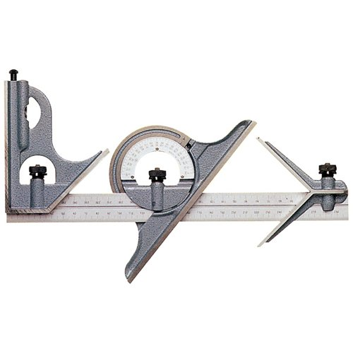 MITUTOYO-4-Piece-Combination-Square-Set-Model-180-906-Blade-Length-12-Protractor-Head-Type-Reversible-Graduation-16R-32nds-64ths-50ths-100ths-Type-of-Reading-Inch-0