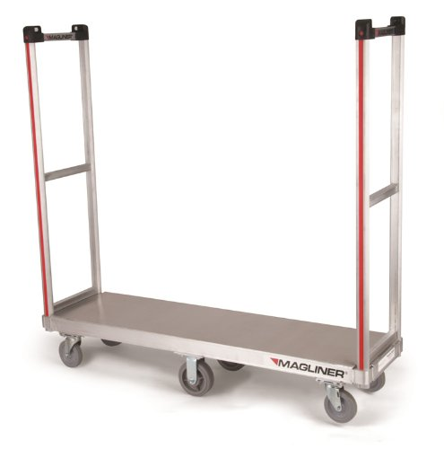 Magline-AXK1-1-Aluminum-U-Boat-Platform-Truck-Removable-Handle-Thermoplastic-Wheels-Silver-Color-1200lbs-Capacity-52-Height-60-Length-x-16-Width-0