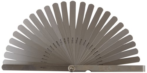 Mitutoyo-184-303S-Thickness-Gage-Feeler-Gage-005mm-to-1mm-28-Leaves-Straight-150mm-Long-Leaves-0