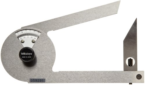 Mitutoyo-187-201-Stainless-Steel-Bevel-Protractor-1-Degree-Main-Scale-5-Minute-Vernier-Scale-Graduation-0