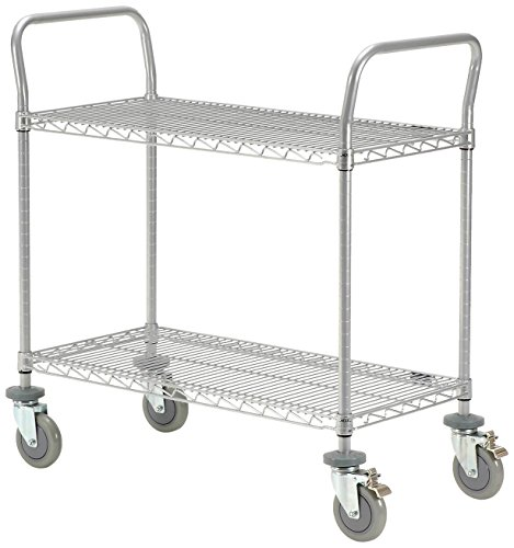 Nexel-2460P2CB-Utility-Cart-with-5-Polyurethane-Wheel-Caster-with-Brake-Wire-Shelves-Swivel-Stem-Caster-24-Width-x-60-Length-1200-lb-Capacity-Chrome-Finish-Chrome-0
