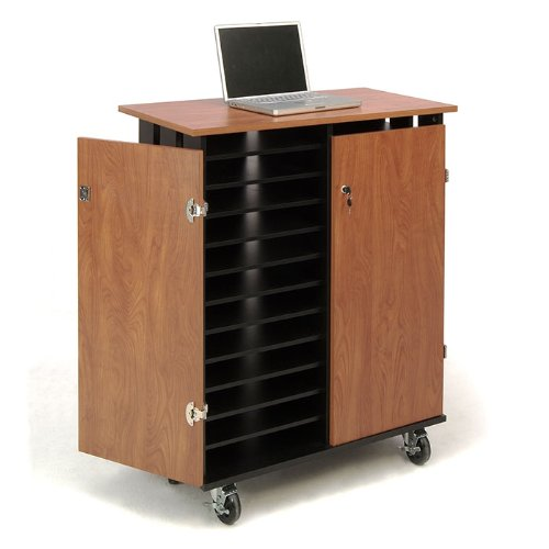 Oklahoma-Sound-LCSC-Laptop-Charging-and-Storage-Cart-37-Length-x-19-12-Width-x-43-14-Height-Wild-CherryBlack-0