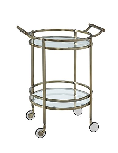 Powell-13K167-Antique-Brass-Round-Service-Cart-0