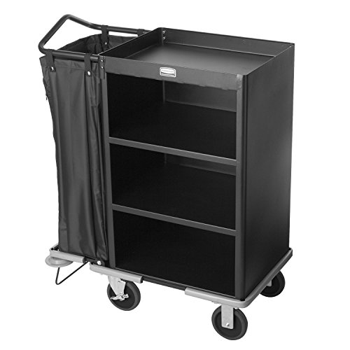 Rubbermaid-Commercial-Executive-Series-FG9T6100BLA-Deluxe-Housekeeping-Service-Cart-3-Shelves-Steel-Black-0-0