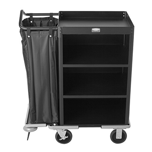 Rubbermaid-Commercial-Executive-Series-FG9T6100BLA-Deluxe-Housekeeping-Service-Cart-3-Shelves-Steel-Black-0-1