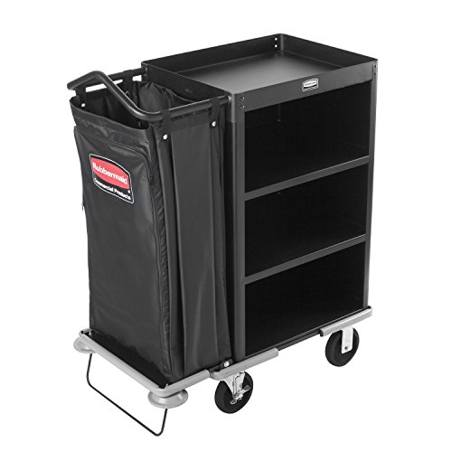 Rubbermaid-Commercial-Executive-Series-FG9T6100BLA-Deluxe-Housekeeping-Service-Cart-3-Shelves-Steel-Black-0