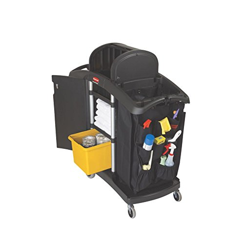 Rubbermaid-Commercial-Executive-Series-FG9T7800BLA-High-Security-Housekeeping-Cart-Black-0-1