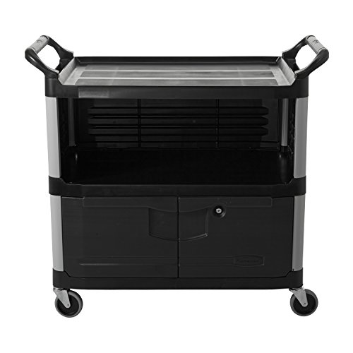 Rubbermaid-Commercial-FG409500BLA-XTRA-Equipment-Cart-3-Shelf-with-Locking-Doors-Sliding-Drawer-End-Panels-and-1-Side-Panel-Black-0-0
