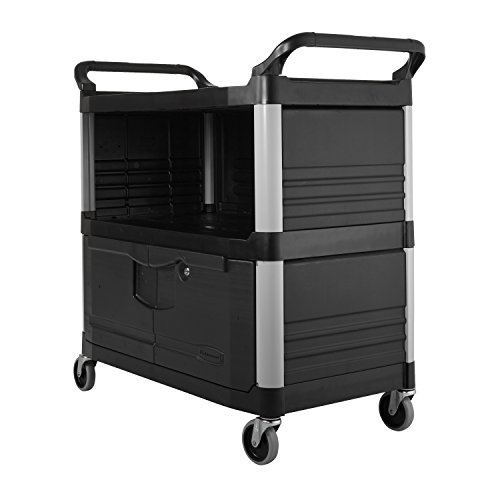 Rubbermaid-Commercial-FG409500BLA-XTRA-Equipment-Cart-3-Shelf-with-Locking-Doors-Sliding-Drawer-End-Panels-and-1-Side-Panel-Black-0-1