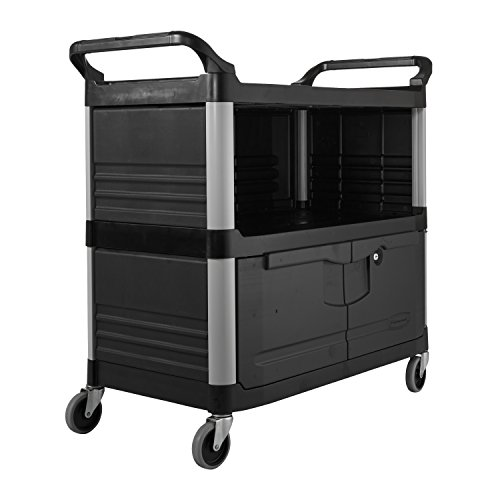 Rubbermaid-Commercial-FG409500BLA-XTRA-Equipment-Cart-3-Shelf-with-Locking-Doors-Sliding-Drawer-End-Panels-and-1-Side-Panel-Black-0
