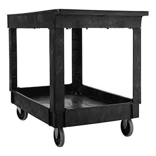 Rubbermaid-Commercial-Utility-Cart-Lipped-Shelves-Medium-Black-4-Non-Marking-Swivel-Casters-300-lb-Capacity-FG9T6700BLA-0-1