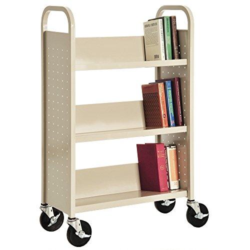 Sandusky-Heavy-Duty-Welded-Steel-Single-Sided-Sloped-Shelf-Book-Truck-3-Shelves-200-lb-Capacity-46-Height-x-28-Width-x-14-Depth-0