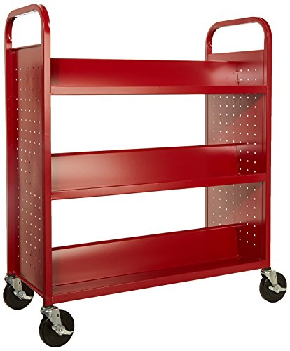 Sandusky-Lee-Double-Sided-Sloped-Shelf-Welded-Book-Truck-19-Length-39-Width-46-Height-6-Shelves-0