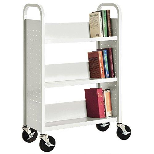 Sandusky-Lee-Single-Sided-Sloped-Shelf-Book-Truck-14-Length-32-Width-46-Height-3-Shelves-0