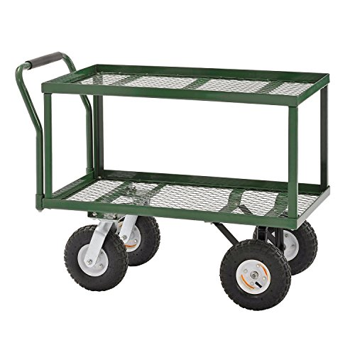 Sandusky-TW3820-Green-Heavy-Duty-Steel-2-Deck-Flat-Wagon-550-lb-Capacity-33-Height-x-38-Length-x-20-Width-0