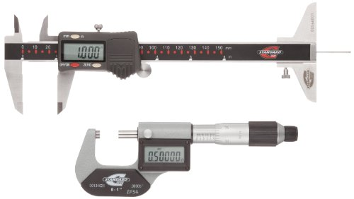 Standard-Gage-00524105-Electronic-Tools-Set-0-to-1-Outside-Micrometer-0-to-6-Calipers-with-Thumbwheel-LCD-DIN-862-IP54-0