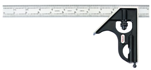 Starrett-33H-12-16R-Forged-Hardened-Steel-Square-Head-With-Regular-Blade-Combination-Square-Smooth-Black-Enamel-Finish-16R-Graduation-12-Size-0