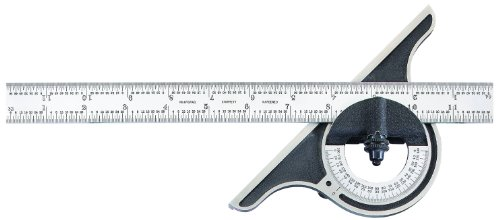 Starrett-C12-12-4R-WSLC-Non-reversible-Bevel-Protractor-With-Black-Wrinkle-Finish-4R-Graduation-0-180-Degree-12-Size-0