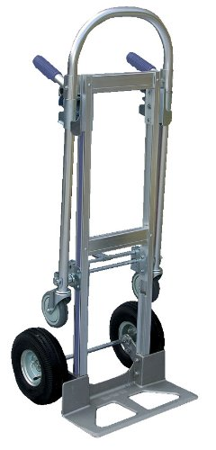 Vestil-ALUM-CONV-Aluminum-Convertible-Hand-Truck-with-Dual-Handle-Rubber-Wheels-500-lb-Load-Capacity-52-Height-x-20-12-Width-x-18-78-Depth-0-0