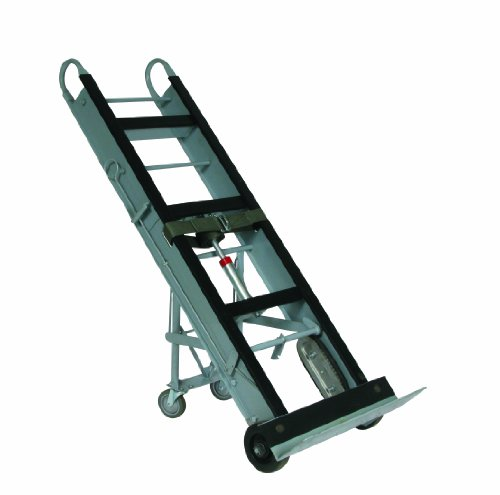 Wesco-272412-Aluminum-Economical-Appliance-and-Vending-Truck-with-Kick-Out-Design-and-Auto-Rewind-Single-Ratchet-Moldon-Rubber-Wheels-550-lb-Load-Capacity-61-Height-12-Length-x-24-Width-0