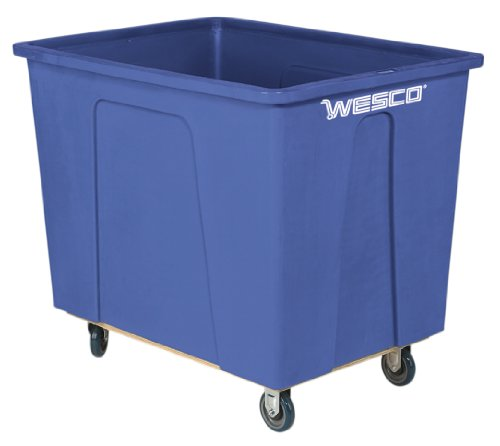 Wesco-272509-64-Gallon-8-Bushels-Plastic-Box-Truck-5-Polyurethane-Wheels-450-lb-Capacity-35-Length-x-24-Width-x-29-34-Height-Blue-0
