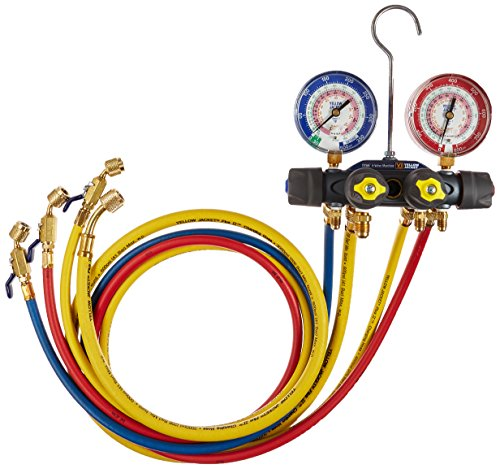 Yellow-Jacket-49968-Titan-4-Valve-Test-and-Charging-Manifold-degrees-F-FC-psi-R-22404A410A-F-RedBlue-Gauges-0-0