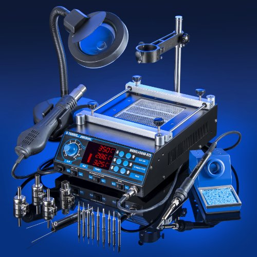 ALL-IN-ONE-X-TRONIC-MODEL-5040-XTS-HOT-AIR-REWORK-SOLDERING-IRON-STATION-PREHEATING-STATION-4-Hot-Air-Nozzles-10-Asst-Solder-Tips-Pinpoint-Tweezers-IC-Popper-Gootwick-FREE-5X-Mag-Lamp-THIS-IS-A-USA-EX-0-0