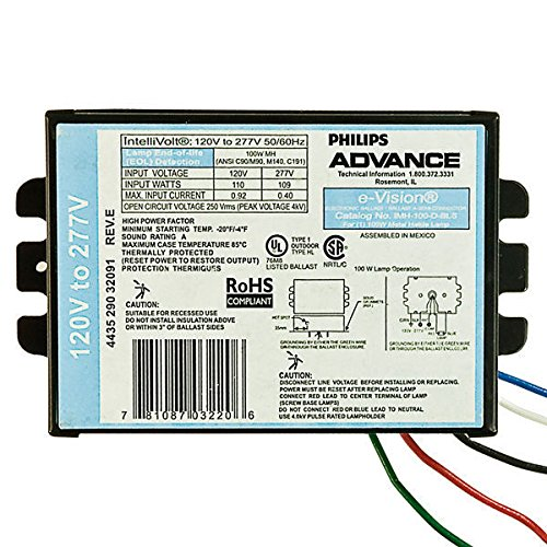 Advance-IMH100DBLS-M-100-Watt-Electronic-Metal-Halide-Ballast-ANSI-C90M90-M140-C191-120277-Volt-Power-Factor-90-Max-Temp-Rating-185-Deg-F-Bottom-Feed-Mounting-With-Studs-0