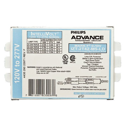Advance-Mark-7-0-10V-IZT-2T42-M5-LD-35M-2-Lamp-42-Watt-CFL-120277-Volt-Programmed-Start-Dimming-10-Ballast-Factor-0