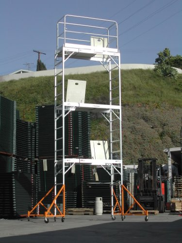 Aluminum-Scaffolding-Rolling-Tower-17-Standing-High-with-Hatch-Decks-Gaurd-Rail-U-Locks-CBM1290-0