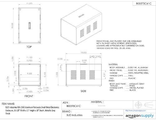 BUD-Industries-WA-1543-Aluminum-Portacabs-Small-Metal-Electronics-Enclosure-11-18-Width-x-11-Height-x-18-Depth-Metallic-Gray-Finish-0