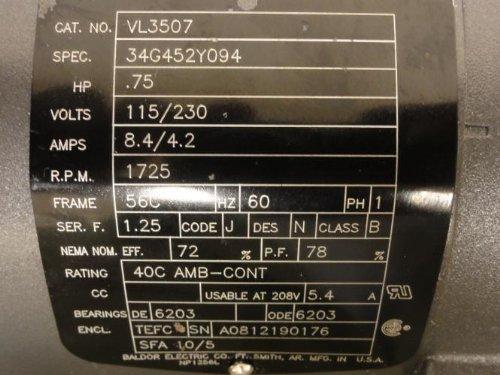 Baldor-VL3507-General-Purpose-AC-Motor-Single-Phase-56C-Frame-TEFC-Enclosure-34Hp-Output-1725rpm-60Hz-115230V-Voltage-0-0