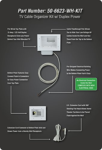 Datacomm-Electronics-50-6623-WH-KIT-Flat-Panel-TV-Cable-Organizer-Kit-with-Power-Solution-0-1