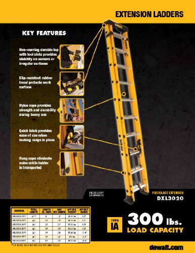 Dewalt Dxl3020 28pt 28 Feet Fiberglass Extension Ladder